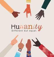 humanidade diferente, mas mãos iguais e da diversidade