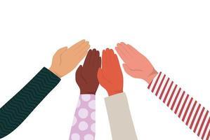 mãos se tocando de diferentes tipos de desenho vetorial de peles vetor