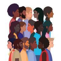 diversidade de peles de mulheres negras e desenhos animados de homens vetor