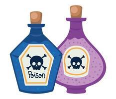 design de garrafas de venenos de halloween vetor