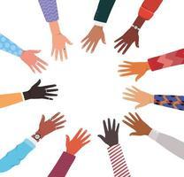 diversidade de pele de mãos em desenho de círculo vetor