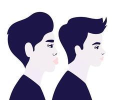 desenhos animados de homens em vista lateral em azul