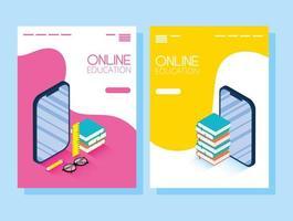 banner de educação on-line e e-learning definido com smartphone vetor