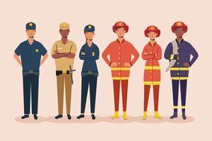 um grupo de personagens trabalhadores essenciais