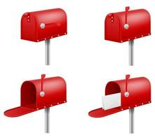 conjunto retro vintage caixa postal vermelha vetor