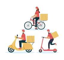 conjunto de entrega de comida online seguro vetor