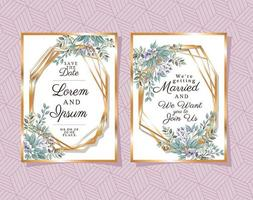 dois convites de casamento com molduras douradas vetor