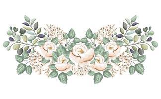 flores rosas brancas com botões e folhas pintando vetor