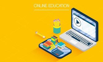 banner online de educação e e-learning com laptop vetor