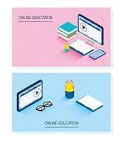 conjunto de banners de educação on-line e e-learning vetor