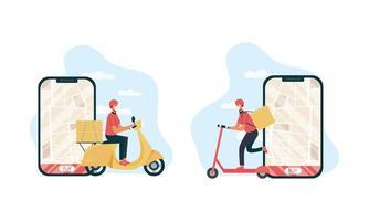 conjunto de trabalhador de entrega de comida online seguro vetor
