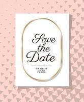 convite de casamento com moldura de ouro