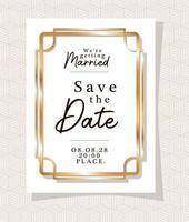 convite de casamento em moldura dourada vetor