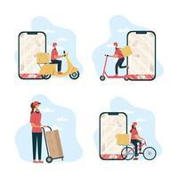 Conjunto de ícones de trabalhador de entrega de comida online segura vetor