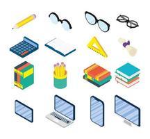 educação online e conjunto de ícones escolares vetor