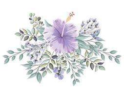 flor roxa havaiana com botões e folhas pintando vetor