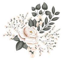 flor rosa branca com botões e folhas pintando vetor