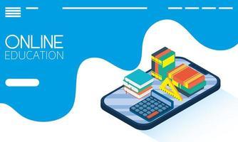 banner online de educação e e-learning com tablet vetor