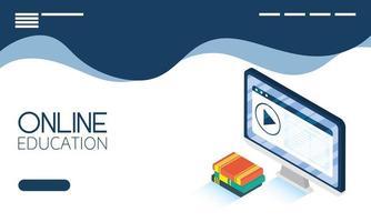 banner online de educação e e-learning com computador vetor