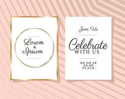 dois convites de casamento com molduras douradas