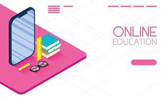 banner online de educação e e-learning com smartphone vetor