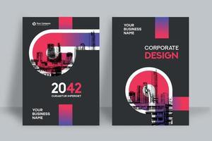 modelo de design de capa de livro de negócios de fundo de cidade vetor