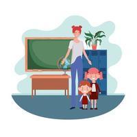 mulher com filhos de volta à escola vetor