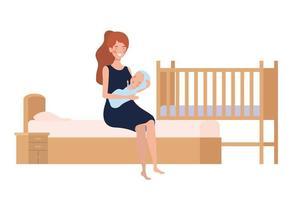 jovem mulher com bebê recém-nascido na cama vetor