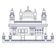 edificação do templo dourado de amritsar vetor