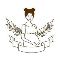 mulher grávida com fita decorativa vetor