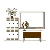 silhueta do quadro-negro da escola em sala de aula vetor