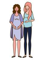 lindas mulheres grávidas em pé sobre um fundo branco vetor