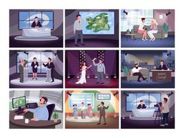 conjunto de programação de televisão vetor