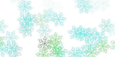 padrão de doodle de luz azul e verde com flores.