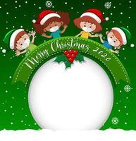 banner de círculo em branco com logotipo da fonte Feliz Natal 2020 e crianças usam máscara sobre fundo verde vetor