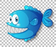 personagem de desenho animado de peixe exótico azul em fundo transparente vetor