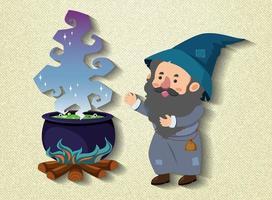 personagem de desenho animado de pequeno feiticeiro com pote de poção vetor