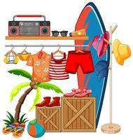 roupas isoladas no rack exibir tema de verão