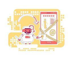 hacker bot design de linha fina