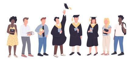 graduados universitários e alunos calouros vetor