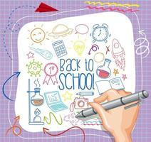 mão desenhando elemento escolar doodle no papel vetor