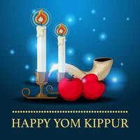Modelo de cartão de felicitações com logotipo de yom kippur ou plano de fundo com shofar vetor