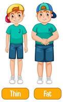 adjetivos opostos com menino magro e menino gordo em fundo branco vetor