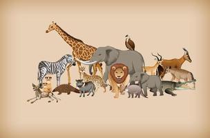 grupo de animal selvagem no fundo vetor