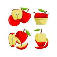conjunto de maçã vermelha vetor