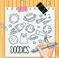 elemento de espaço em estilo doodle ou esboço no papel vetor