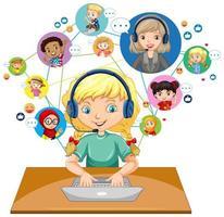 vista frontal de uma garota usando laptop para comunicar-se por videoconferência com o professor e amigos em fundo branco vetor