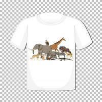 desenho de grupo de animais selvagens em t-shirt isolado em fundo transparente vetor