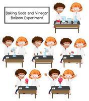 Cientista explicando experimento científico de balão de bicarbonato de sódio e vinagre