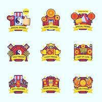 conjunto de etiqueta de kit de marketing de ano novo chinês vetor